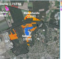 Outline van het projectgebied met aanduiding van de momenteel aanwezige habitats